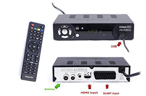 UK FULL HD 1080P Freeview HD Receiver & HD USB Recorder DIGITAL TV Set Top Box HD Digibox Terrestrial Tuner SCART + HDMI input DVBT-T2 / MPEG4 , 7 Buttons, Analogue to Digital Television Converter, High Definition Multi Media Player, PVR, 1 Year Replacement Warranty (BBC 1/2/4/C/NEWS HD, CH4/5HD,ITV HD,+1HD,4/7HD, QVC HD , QVC Beauty HD,RT HD , CBeebies HD , Aljazeera HD,Talking Pictures,Film4+1,5STAR+1,5USA+1,VIVA+1,CBS Drama , Rishtey Europe,Vintage TV & more... )Model:iView HD BLACK