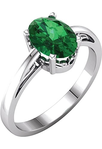 14k White Gold Chatham Created Emerald Ring, Size 7