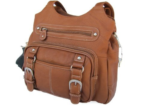 Concealed Carry Purse - Genuine Leather Locking CCW Gun Bag - Left and Right-hand Draw, Wine
