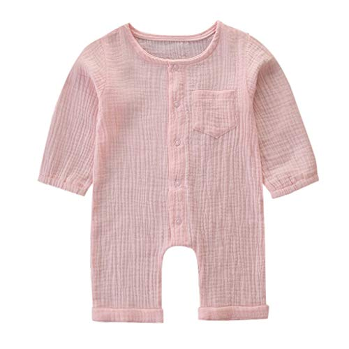 SSZZoo 3-24 Months, Toddler Infant Baby Girls Jumpsuit Solid Color Long Sleeve Cotton Linen Pocket Romper(Pink,6-9 Months)