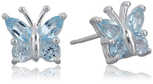 Butterfly Set Stud Earring (Sterling Silver Genuine Sky Blue Topaz Butterfly Stud Earrings)
