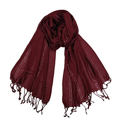 Soft & Lightweight Women's Trendy Fresh Maroon Color With silver Vertical Lurex Stripes With Tassels- Party Viscose Scarf/Stole for All Seasons