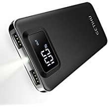 GETIHU Portable Phone Charger 10000mAh LED Display Power Bank 4.8A High-Speed Charging External Battery Backup 2 USB Ports with Flashlight Compatible with iPhone Xs X 8 7 6s 6 Plus Samsung Galaxy HTC