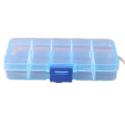 HongXander 10 Grids Adjustable Jewelry Beads Pills Nail Art Storage Box Case (Blue) - Nail File Opi Crystal