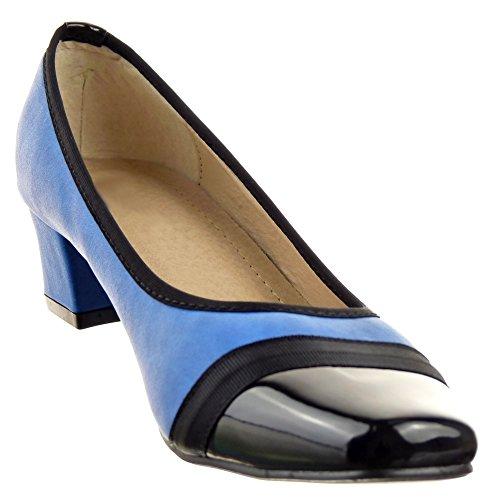 Sopily - Scarpe da Moda ballerina scarpe decollete Slip-On alla caviglia donna lucide Tacco a blocco 4.5 CM - Blu
