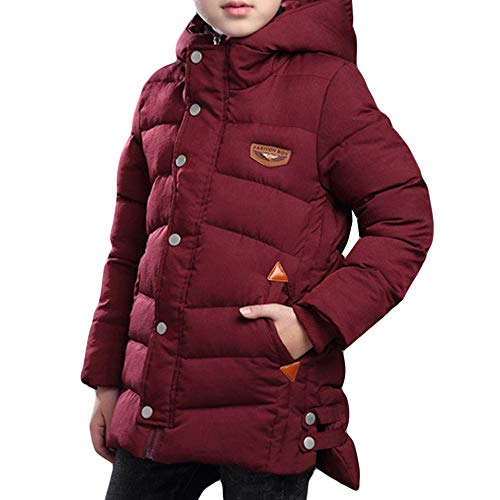 Gaorui Boys Winter Hooded Down Coat Jacket Thick Wool Inside Kids Warm Outerwear Coat Quilted Puffer Red