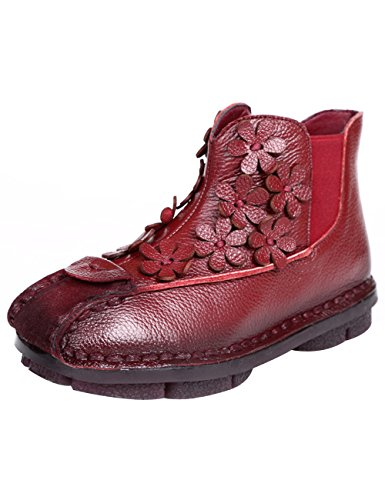 Zoulee Womens Leather Flowers Non-Slip Boots Soft Bottom Flat Ankle Boots Red