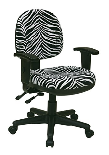 Office Star Sculptured Ergonomic Thick Padded Seat and Back with Built-in Lumbar Support Managers with Adjustable Arms, Zebra