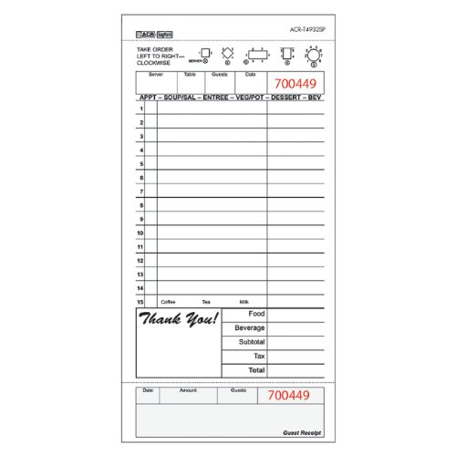 DayMark Guest Check Board, 1 Part, Tan (8 Packs of 250 Checks)
