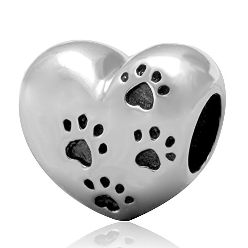 My Sweet Pet Heart Charm 925 Sterling Silver Paw Prints Lovely Charm For Pandora Bracelet (Sweet Charm Pet)
