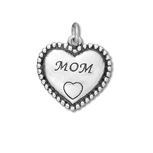 Sterling Silver Mom in Beaded Heart Charm Item #53014