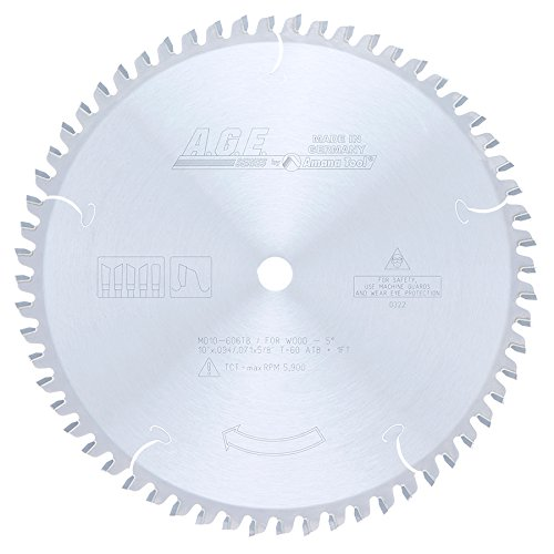 Amana Tool A.G.E. Series MD10-606TB Thin Kerf Sliding Compound Miter & Radial Arm 10-Inch x 60 Tooth ATB 5/8 Bore Saw Blade Industrial Radial Arm Saw