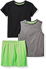 Amazon Brand - Spotted Zebra Boys Active T-Shirt, Tank and Shorts Set