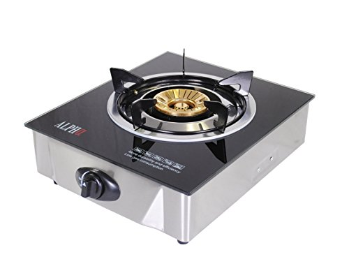 New Alpha Portable Propane Gas Glass Top Stove Single Burner with Low Pressure Regulator For Tailgat...