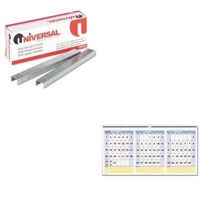 KITAAGPM1528UNV79000 - Value Kit - At-a-Glance QuickNotes Three-Month Horizontal Wall Calendar (AAGPM1528) and Universal Standard Chisel Point 210 Strip Count Staples (UNV79000)