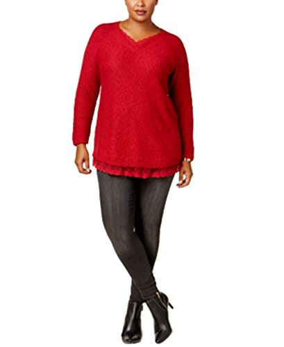 Metallic Nylon Sweater (Style & Co. Womens Plus Shimmer Lace Tunic Sweater Red 0X)