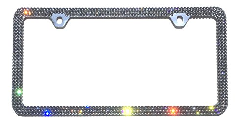 3 Row BLACK DIAMOND (Grey) License Plate Frame 2 Holes Rhinestone Bling made with Swarovski Crystals -  Cool Blingz, SW3BlaDia20C2H