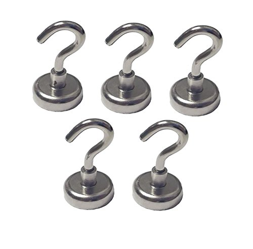 (5 Pack) 25 Pound Pull Heavy Duty Neodymium Silver Metal Magnetic Hanging Hook Set for Indoor or Outdoor Use by GetXpress