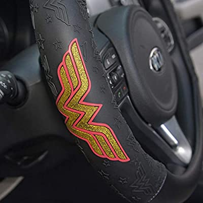 BDK DC Comics Wonder Woman Steering Wheel Cover - W Symbol on Synthetic Leather: Automotive