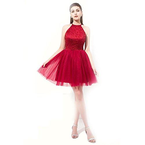 Perlen Mini Rueckenfrei Kurz Aiyana Prom Abendkleid Knielänge Kleid Ballkleider Burgund Rock Elegantes Rot Kleid E8wSaq