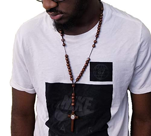 ded Rosary Crucifix Cross Dark Brown Beads Hip Hop Fashion Necklace Chain 28inch ()