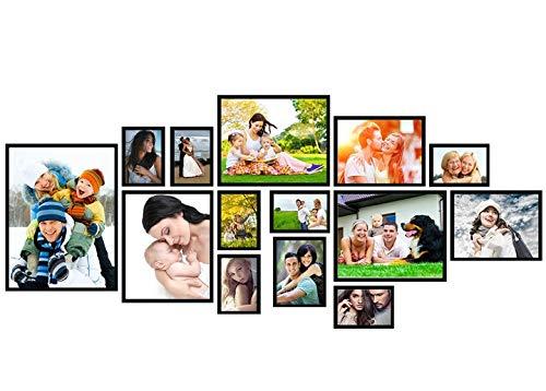 Artepoint 14er B SET Fotocollagen Bilderrahmen Foto Bild Galerie Collage Rahmen mit Schablone Schwarz