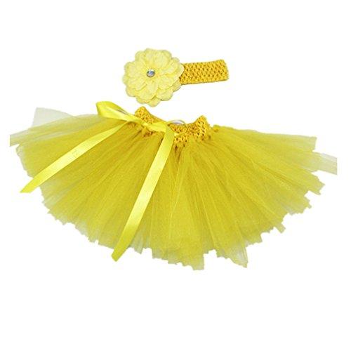 MizHome Newborn Baby Girls Birthday Layered Tulle Tutu Skirt Flower Peony Headwear Outfits Yellow