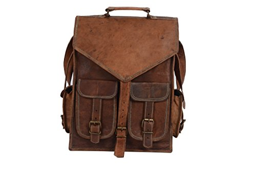 Stitched Pocket Hobo (Leather Backpack For Men Women Enough for 15