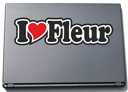 INDIGOS UG - I Love Heart Decal Sticker Laptopskin 210 mm - Name Laptop Netbook Computer - Sticker with Name of Man Woman Child - I Love Fleur