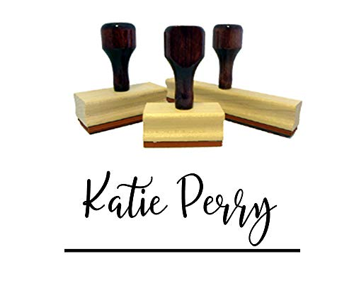 Custom Rubber Stamp. Wood Handle Stamper with Calligraphy, Script, Print - Many Various Fonts! Great Size - Approx 3/4