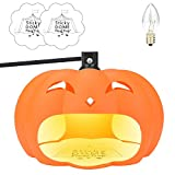 Flantor Flea Trap, Pumkin Plug-in Sticky Sticky Dome Flea Trap Non-Toxic Odorless Natural Flea Killer with Light, Get Rid of All Fleas, Bed Bugs, Flies with Free replacment Bulb and Sticker (Orange)