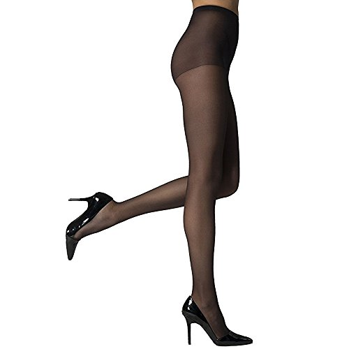 Women High Support Pantyhose Stockings - Silky Soft Light weight Comfortable Stretchy Waistband Sheer Nylon and Spandex Hosiery Panty hose with Reinforced Toe for Woman - Onesize Black (High Pantyhose)