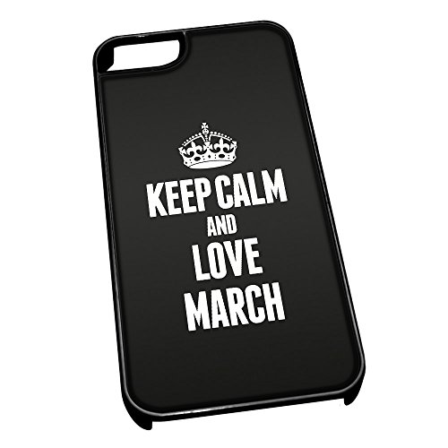 Cover per iPhone 5/5S, colore: nero 0420Nero Keep Calm And Love Marzo