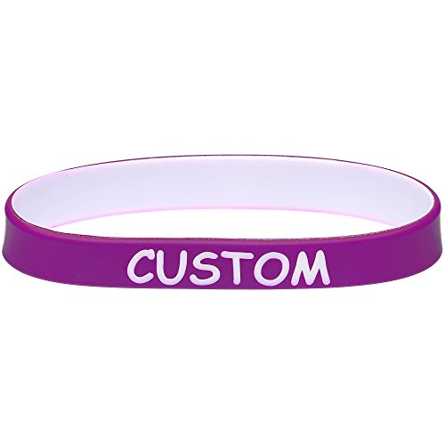 Body Candy Customizable Purple White Silicone Stretch Personalized Message Bracelet