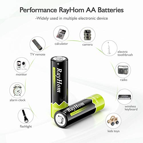 RayHom AA Rechargeable Batteries 2800mAh Ni-MH Battery (16 Pack)
