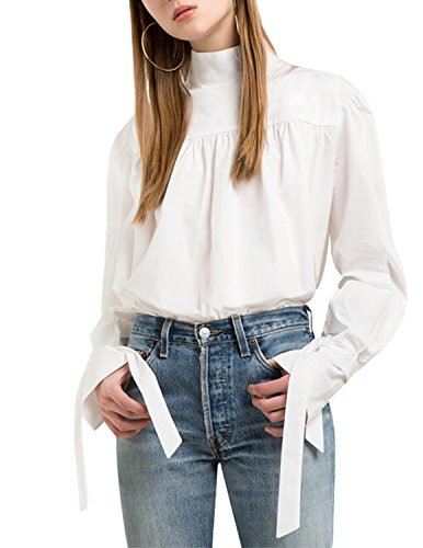 HaoDuoYi Womens Tie Sleeve Basic Flare Stand Collar Top Blouse