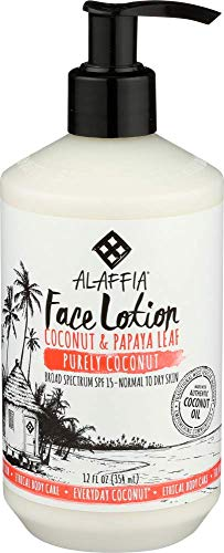 Alaffia - Everyday Coconut Face Lotion, For All Skin Types, Moisturizing Support Soft Skin and SPF 15 UV Protection with Neem, Papaya, and Lavender Oil, Fair Trade, Day Time Coconut, 12 Ounces