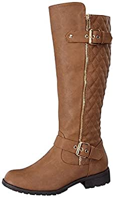 Top Moda Women's Bally-32 Knee High Quilted Leather Riding Boot (5.5, Tan)