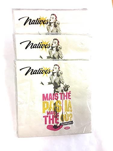 Native papieren servetten, 15 x 15 cm, opengeklapt 33 x 33 cm, 3 verpakkingen