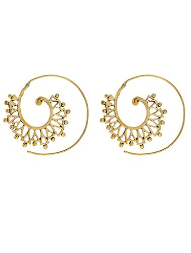Spiral Hoop Handcrafted Indian Gold Plated Fashion Earrings New Ethnic (Spiral Jewel)