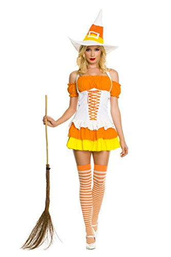 Wonderland Cutie Adult Costumes (Rave Wonderland Women's Candy Corn Cutie Witch Extra Large)