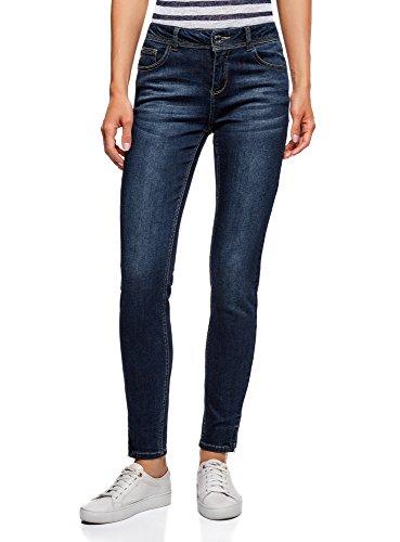 oodji Ultra Femme Jean Skinny avec Zips Bleu (7900w)