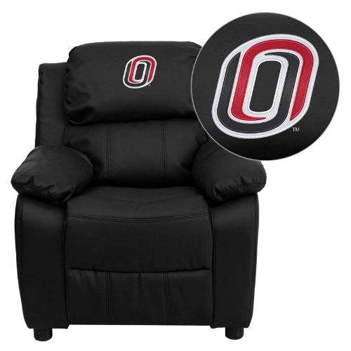Flash Furniture Nebraska at Omaha Mavericks Embroidered Black Leather Kids Recliner with Storage Arms -