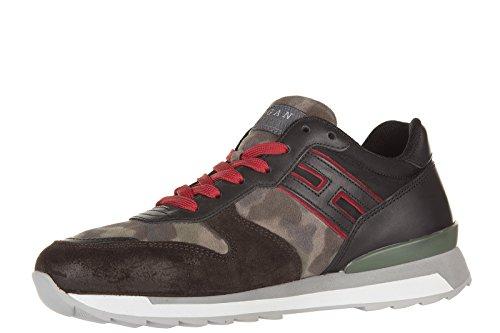 Hogan Rebel chaussures baskets sneakers homme en daim rebel r261 allacciato marr
