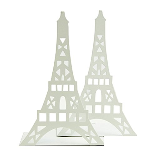 Winterworm Stylish Modern Paris Eiffel Tower Metal Decorative Bookend Book End Book Organizer For Library School Office Home Desk Study Gift(White) by Winterworm