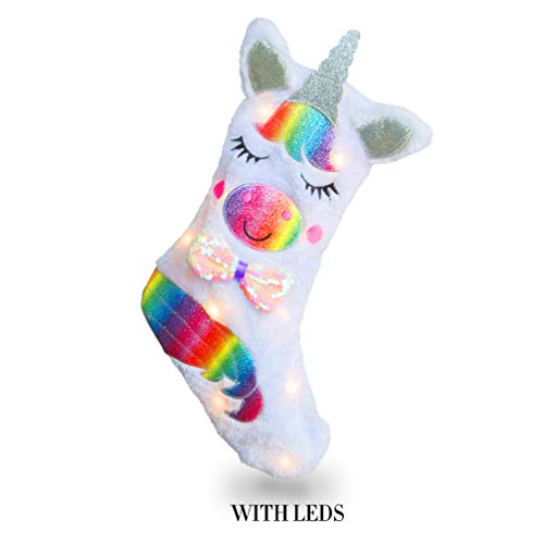 TX Unicorn Christmas Stocking with LED Light Unicorn Sparkly Sequins Stockings for Christmas Decoration (Unicorn)