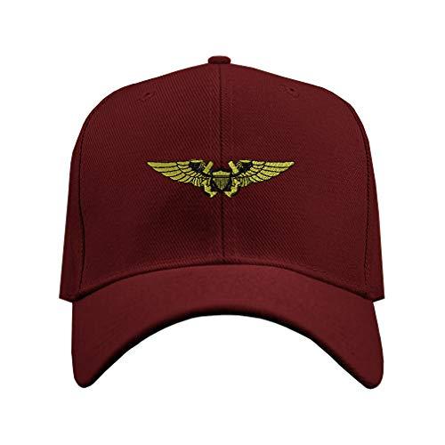 Speedy Pros Baseball Hat Naval Flight Officer Embroidery Veteran Name Acrylic Structured Cap Hook & Loop - Burgundy, Design Only