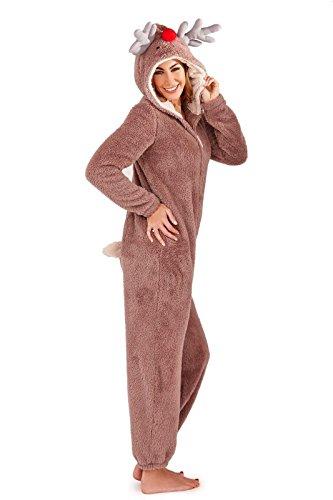 armona Ladies Reindeer Fleece Onesie Size -