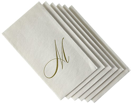 Caspari - Disposable Folded Bathroom Hand Towel, White Pearl Paper Linen, Monogram Initial M, Pack of 24
