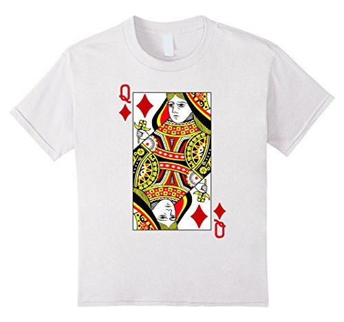 Kids Queen of Diamonds Playing Card Costume T-Shirt 10 White (Playing Card Costumes)